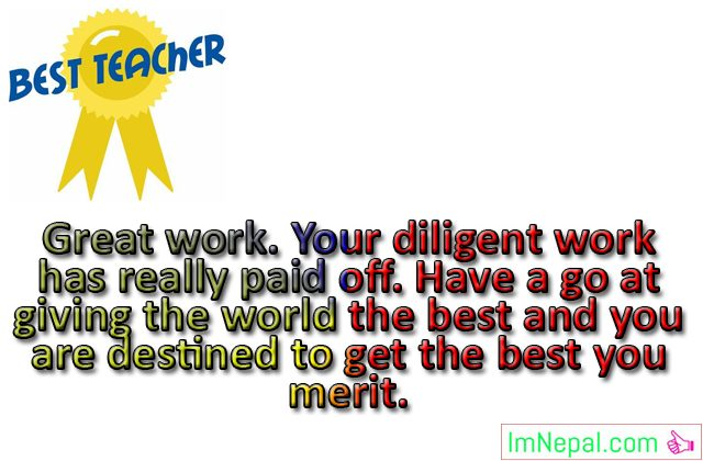 Best teacher award prizes winner achievement Congratulations messages quotes greetings cards images wishes photo pictures