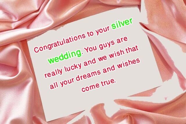 Congratulations Messages for 25th Wedding Anniversary Wishes Quotes